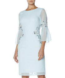 pale blue sheer sleeve dress