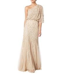 beige one-shoulder maxi dress