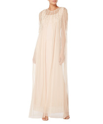 pale pink sheer cape & maxi dress