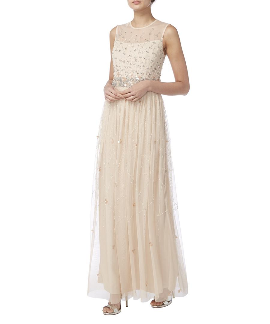 pale pink sheer layer maxi dress Sale - raishma