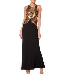 black & bronze-tone maxi dress