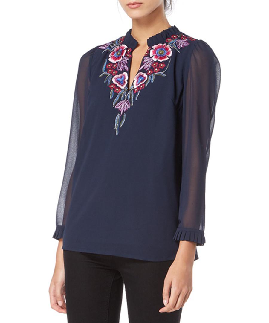 navy floral sheer sleeve blouse Sale - raishma