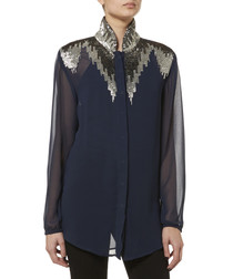 navy embellished sheer sleeve blouse