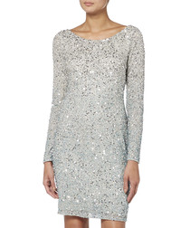 silver-tone sequin round neck dress