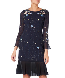 midnight floral sheer hem dress