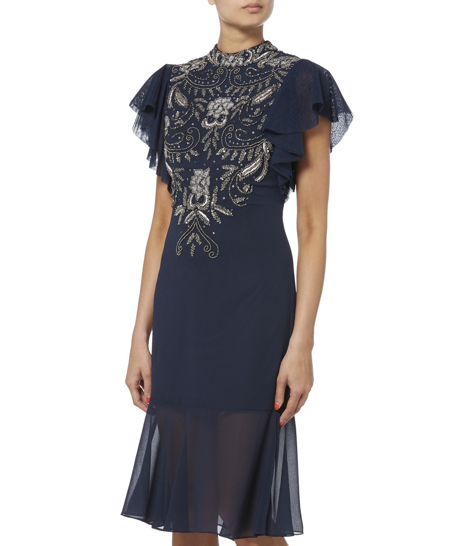 navy sheer detail embroidered dress Sale - raishma