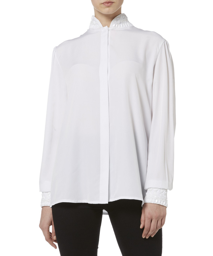 white back-detail button blouse Sale - raishma