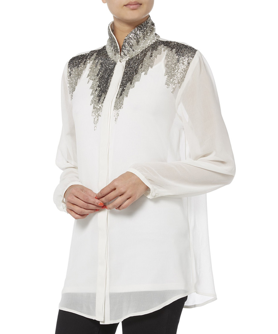 white embellished detailed shirt Sale - raishma