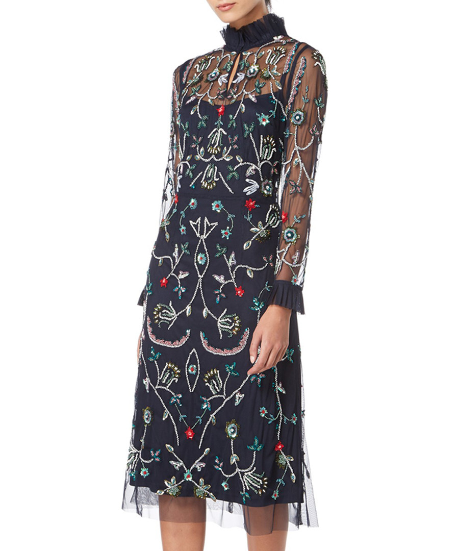 navy floral high neck dress Sale - raishma