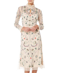 pale pink floral high neck dress