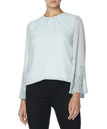 pale blue bell sleeve top