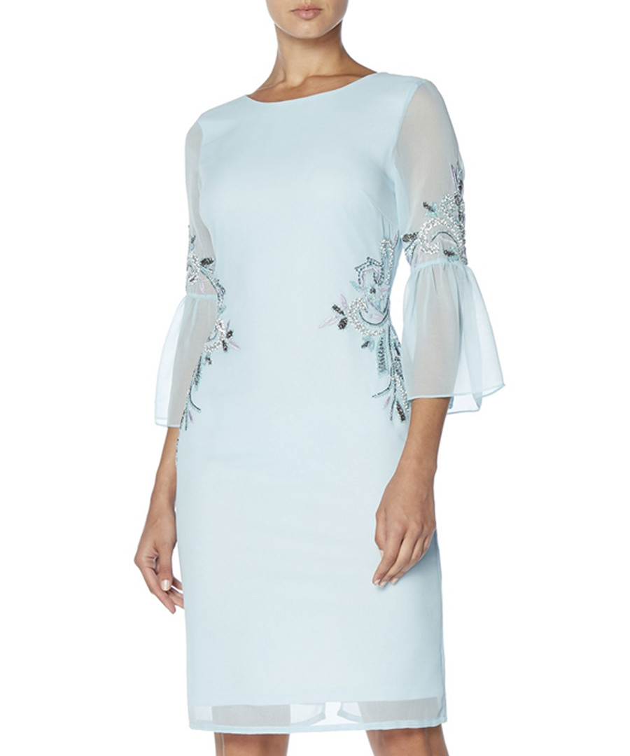 pale blue sheer sleeve dress Sale - raishma