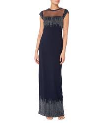 navy embellished sleeveless maxi dress