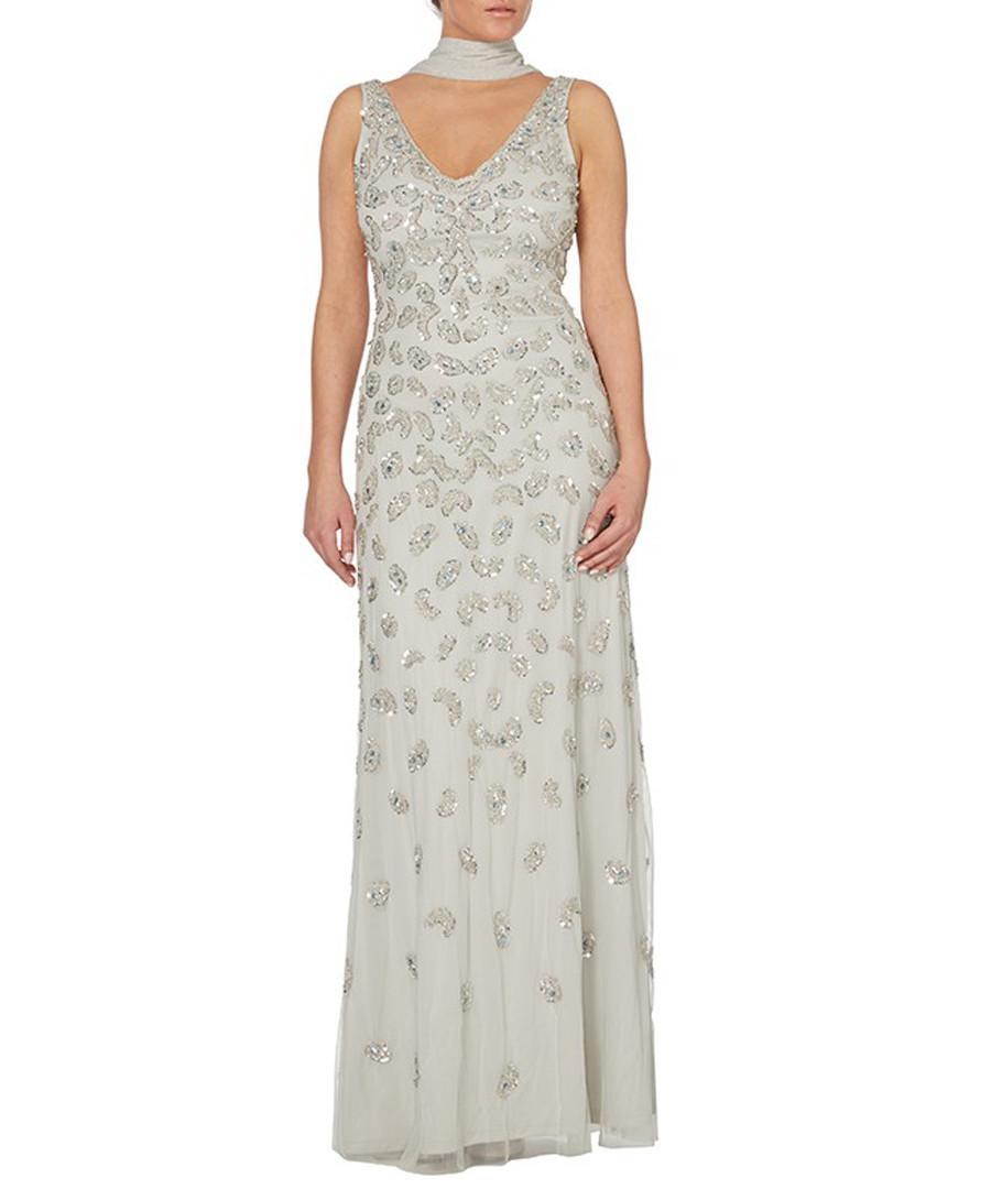 silver-tone scatter V-neck maxi dress Sale - raishma