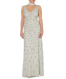 silver-tone scatter V-neck maxi dress