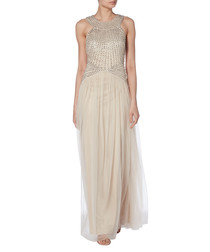 beige halterneck pleated maxi dress