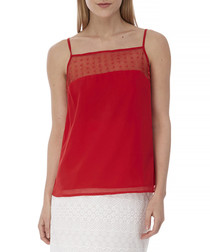 Red spotted mesh cami top