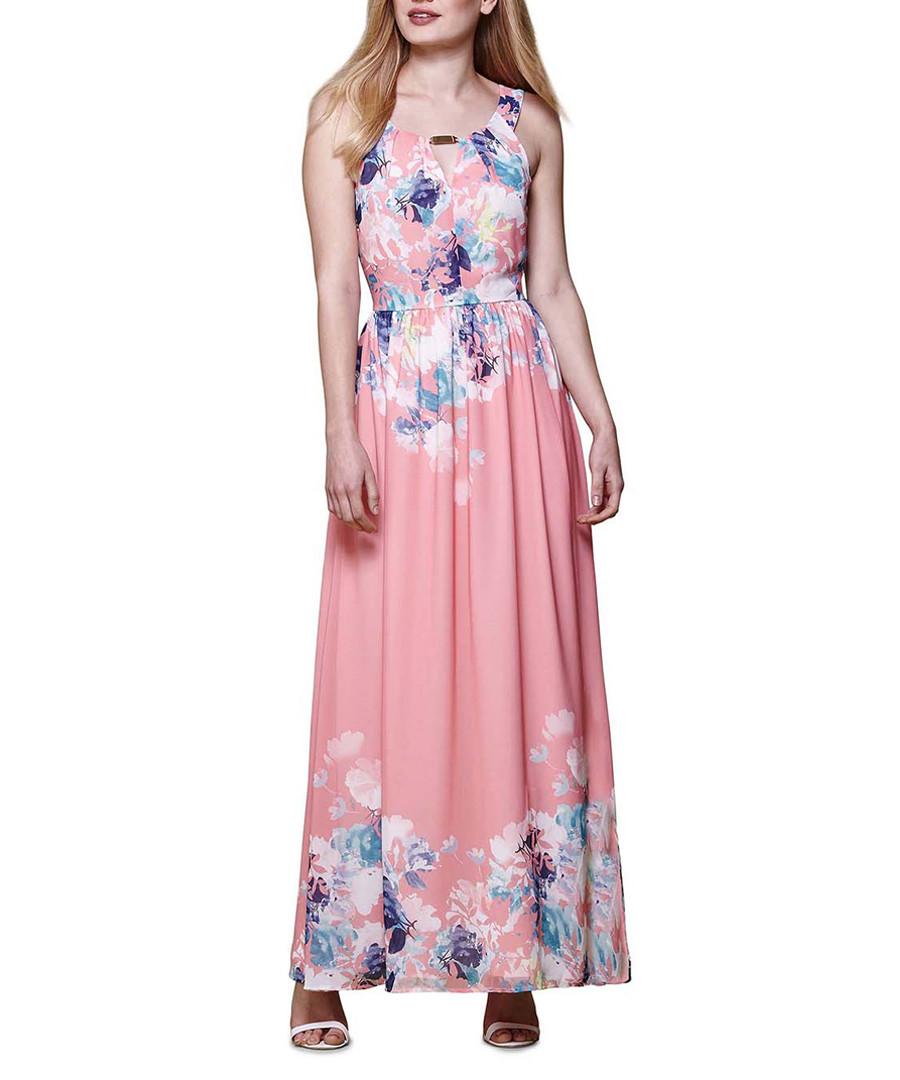 Coral watercolour floral maxi dress Sale - yumi