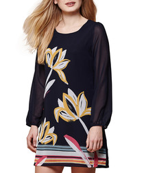 Navy nordic floral print tunic