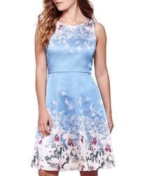 Valentine sky blue stretch satin dress