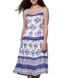 Ivory & blue tile print midi dress