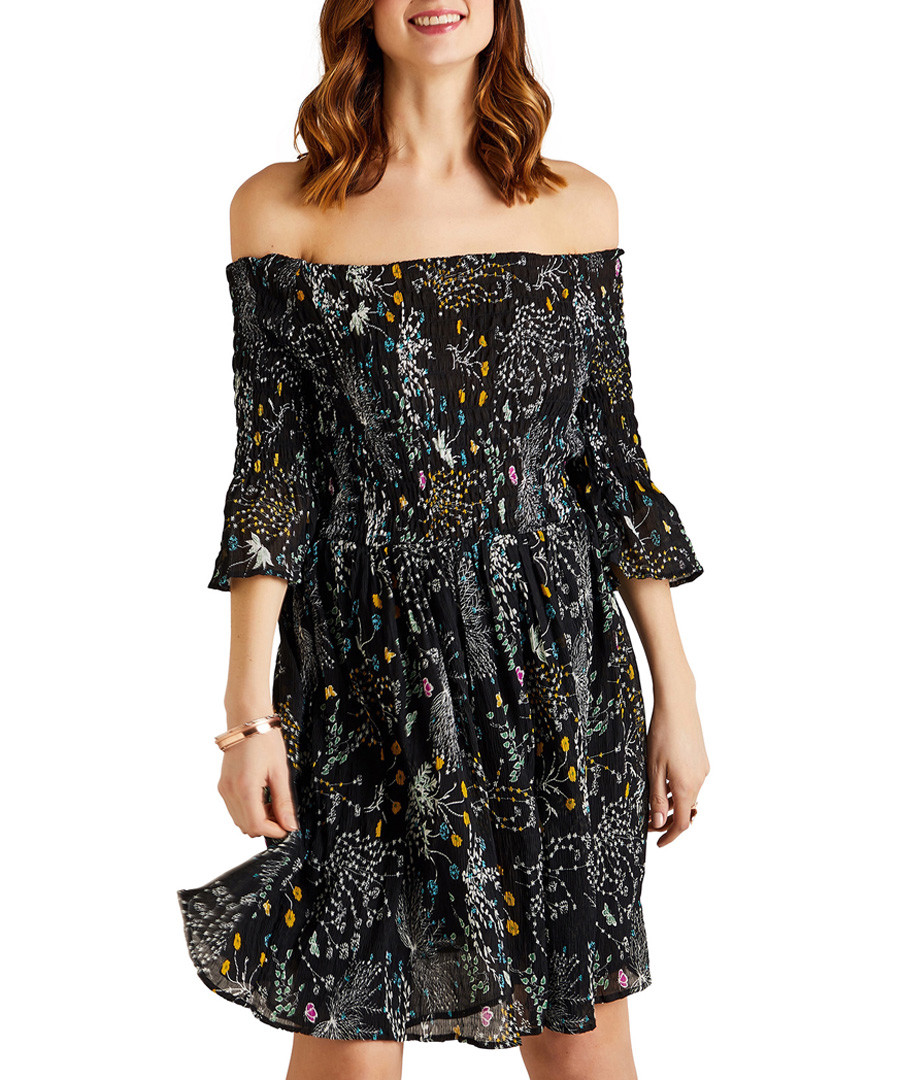 Black floral off-the-shoulder dress Sale - yumi