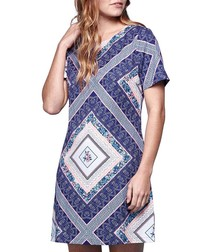 Blue tile print tunic