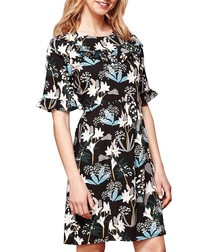 lily snowdrop print ruffle dress