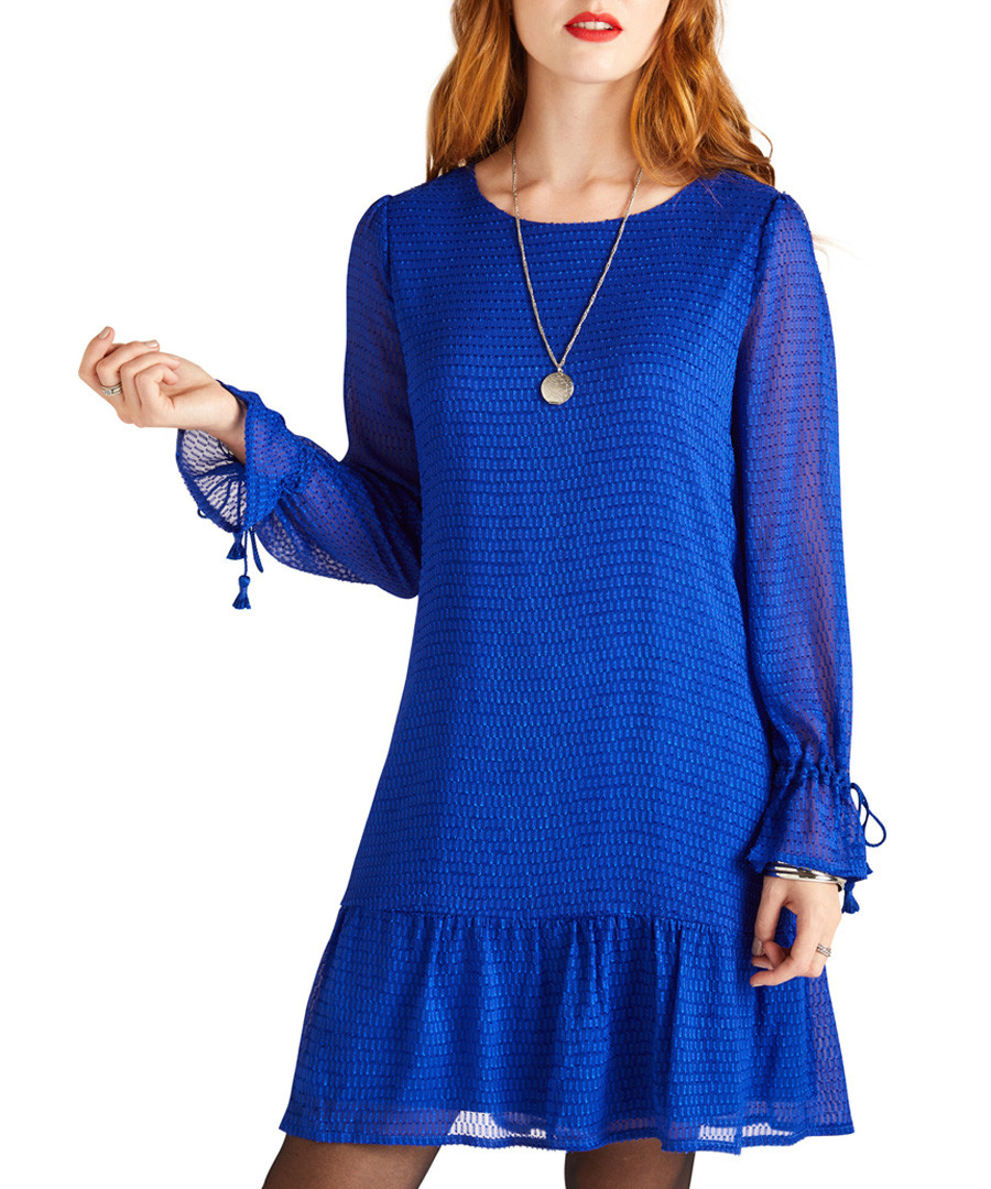 Cobalt flare hem dobby dress Sale - yumi