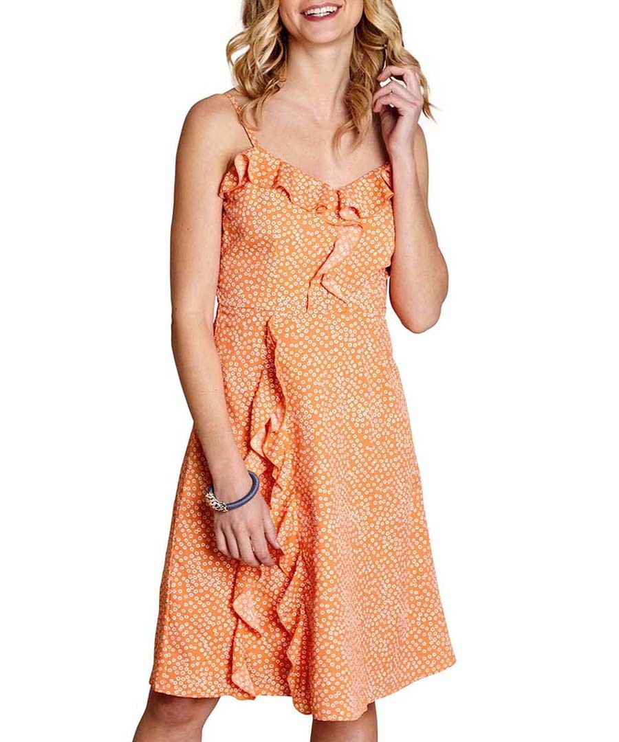 Orange bubble dot ruffle dress Sale - yumi