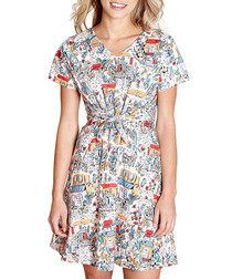 Retro traveller short sleeve mini dress