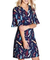 Abstract Strokes navy print mini dress