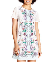 Ivory print short sleeve mini dress