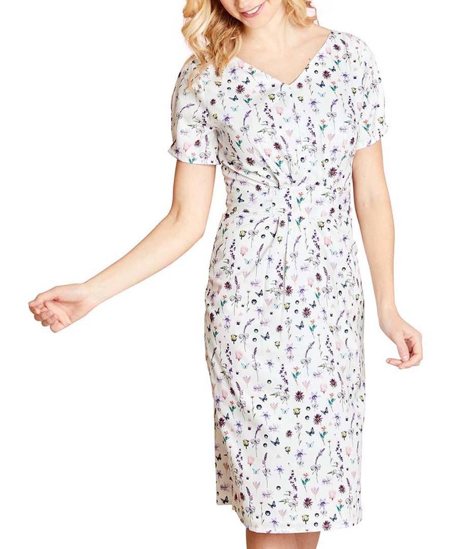 French botanical ivory print dress Sale - yumi
