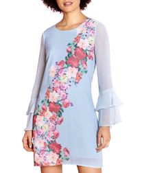 Watercolour Rose pale blue print dress