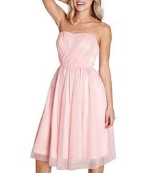 Pale pink mesh prom dress