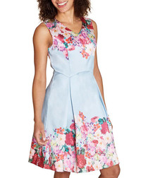 Watercolour floral fit & flare dress