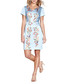 Pale blue floral print satin dress Sale - yumi Sale