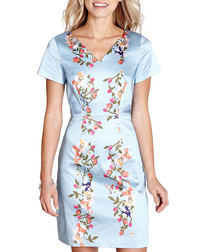 Pale blue floral print satin dress