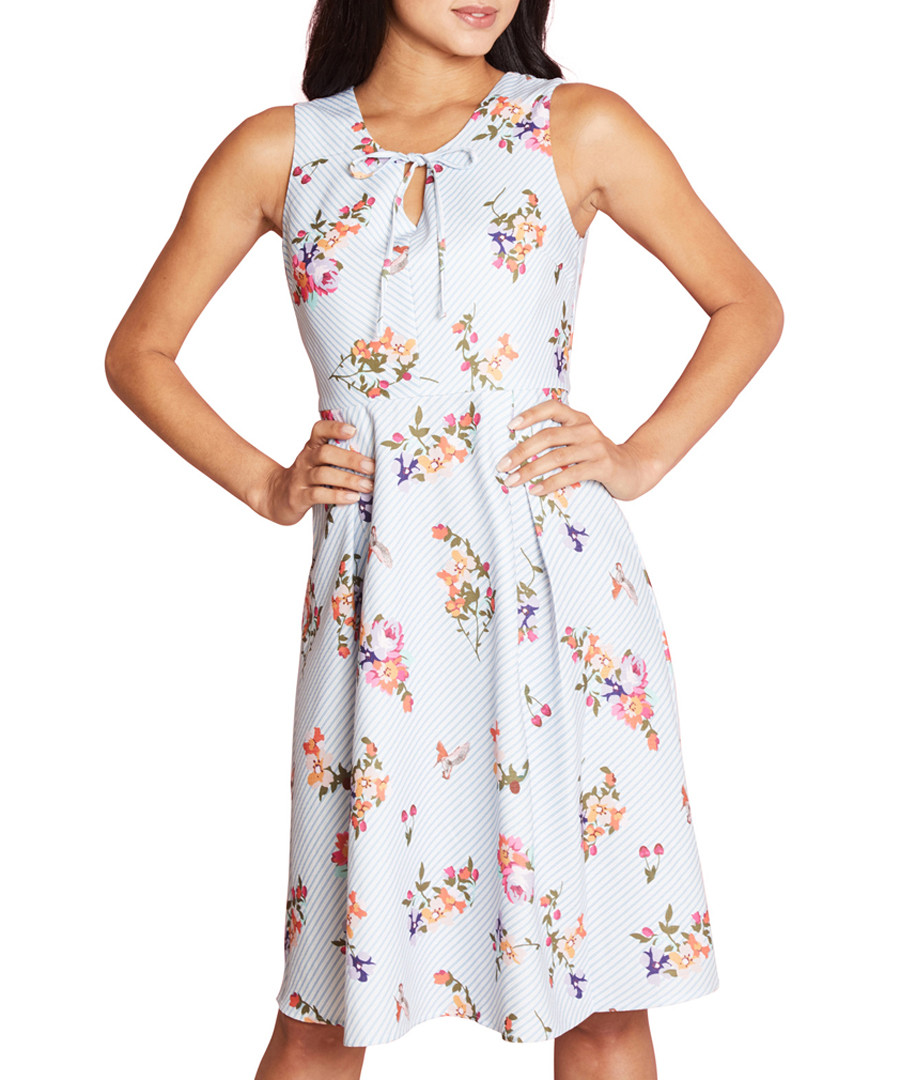 French floral sky blue print dress Sale - yumi