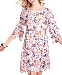 Floral print layered sleeve tunic