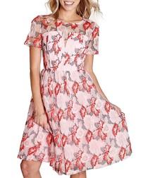 Organza pink sheer prom dress