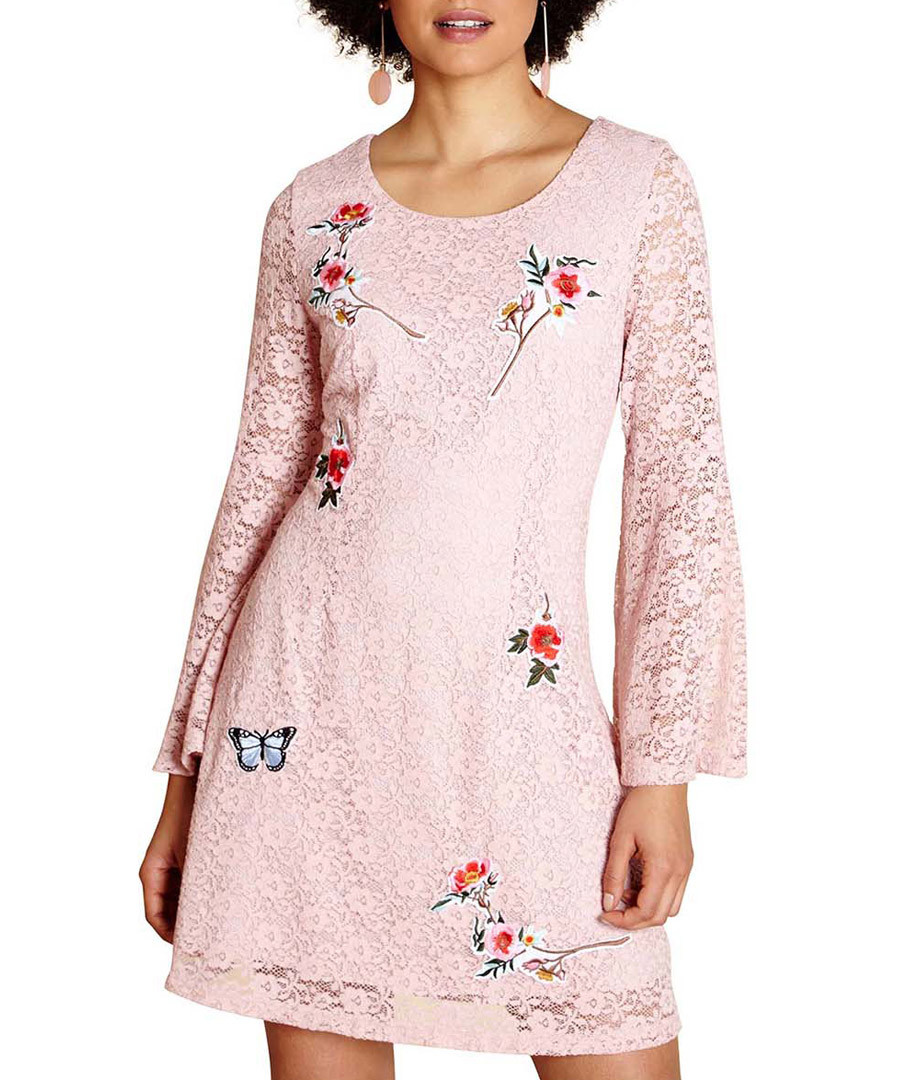 Light pink floral lace swing dress Sale - yumi