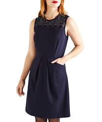Deep navy lace embellished panel dress