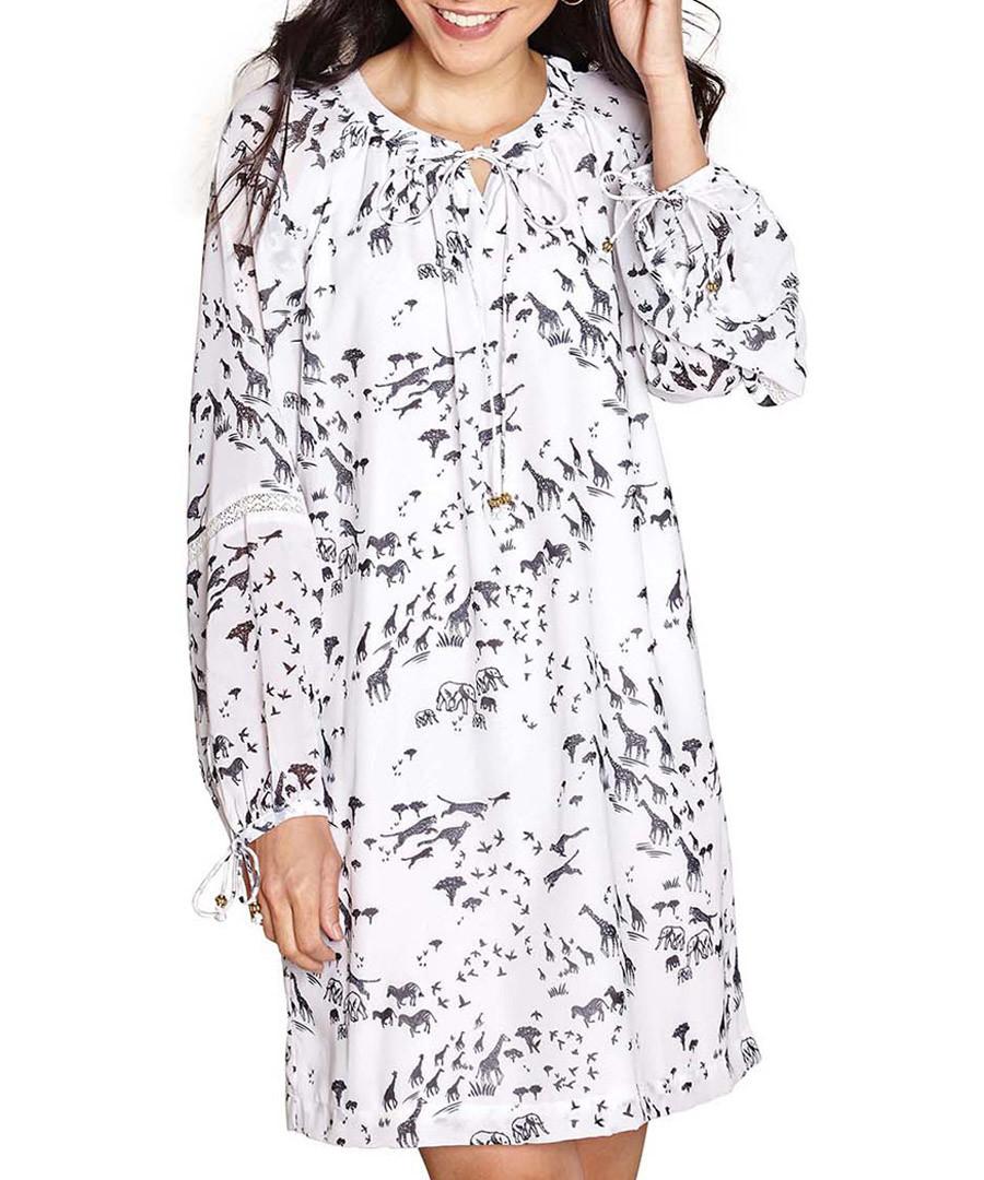 Ivory print long sleeve tunic Sale - yumi