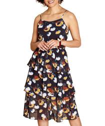 Black layered ruffle midi dress