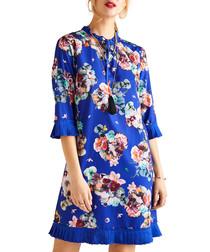 Cobalt floral print 3/4 sleeve tunic