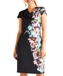 Midnight floral print cowl neck dress