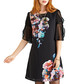 Midnight floral sheer sleeve tunic Sale - yumi Sale