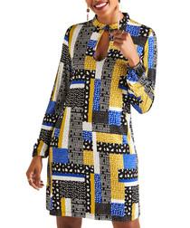 Multi-colour patchwork keyhole tunic